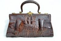 Unique Early 1900's Chocolate Brown Edwardian Alligator Handbag w/Paws