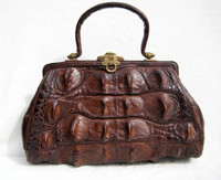 OUTSTANDING Indiana Jones Style Early 1900's Edwardian Hornback Alligator Handbag - HEAVY!
