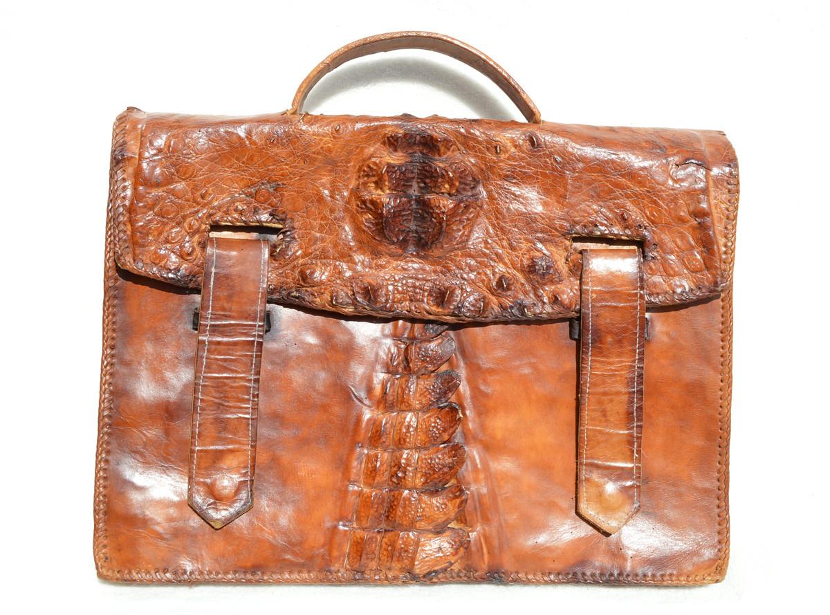 cfd871c635143c 1960's HORNBACK Crocodile Skin & Leather BRIEFCASE Bag - Vintage Skins