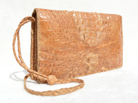 Unisex Natural 1960's-70's Hornback Crocodile Skin Shoulder Bag