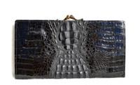 New! BLACK HORNBACK Crocodile Skin Checkbook Wallet Change Purse
