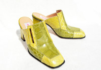 Early 2000's Lemon Apple Green Genuine CROCODILE Mauri Mules Heels Shoes - Box - 36.5 / 6.5 - MSRP $395!