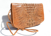 Stunning Bohemian Style 1960's Hornback Crocodile Skin Shoulder Cross Body Bag