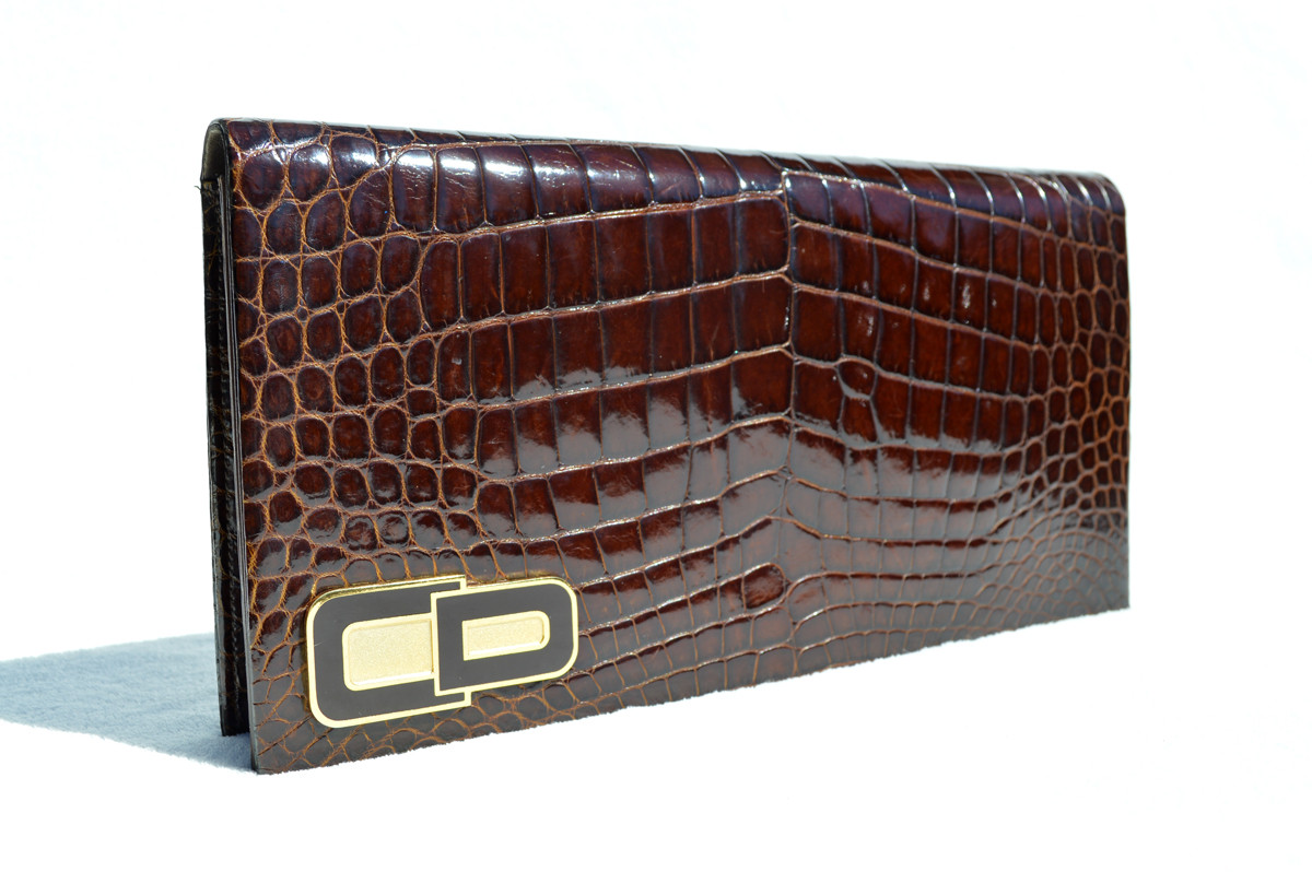... CHRISTIAN DIOR 1990 s Crocodile POROSUS Belly Skin CLUTCH Shoulder Bag  - FRANCE. Image 1. Loading zoom be84edf884128