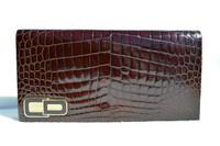 CHRISTIAN DIOR 1990's Crocodile POROSUS Belly Skin CLUTCH Shoulder Bag - FRANCE