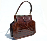 Fabulous CHOCOLATE 1950's-60's ART DECO Style CROCODILE Skin Handbag