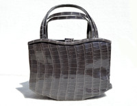 Early 2000s Haute Couture MANOLO BLAHNIK Gray CROCODILE Skin Handbag