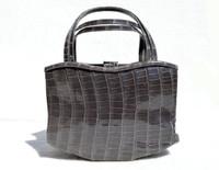 Early 2000s Haute Couture MANOLO BLAHNIK Gray CROCODILE Skin Handbag