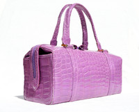 Rare 1990's-2000's LILAC PURPLE CROCODILE Porosus Belly Skin Handbag
