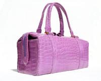 Rare 1990's-2000's LILAC PURPLE CROCODILE Porosus Belly Skin Handbag