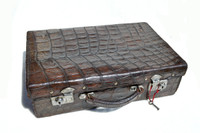 Brown 1930's-40's Antique ALLIGATOR Skin Travel Case Briefcase Luggage - w/KEY!