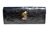 NEW Jeweled 2015 BLACK Crocodile Belly Skin Envelope Clutch Bag - BIRD!
