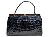 Jet BLACK RENDL 1950's-60's ALLIGATOR Belly Skin Handbag