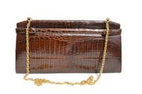 1980's Chocolate Brown Crocodile Belly Skin Clutch Shoulder Bag