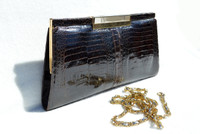 1980's Espresso Brown Double Baby Crocodile Belly Skin Clutch Shoulder Bag