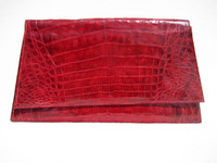 Structured Early 2000's RED CROCODILE Belly Skin Clutch Wristlet Bag