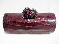 Plum PURPLE Early 2000's CROCODILE Belly Skin CLUTCH Bag w/ BEADS!