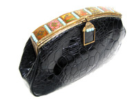 Jet Black 1960's Turtle Skin Clutch Purse with Beading Decorative Scenes - JACOMO