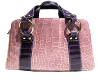 Grape & LILAC Purple 1990's CROCODILE Belly Skin Handbag