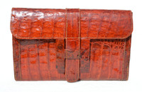 "NEW 2012 TOMATO Red Crocodile Skin Envelope Clutch Bag - ""H"""