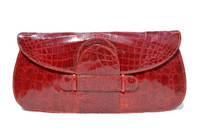 "Gorgeous RED 16"" 1940's CROCODILE Belly Skin Clutch Bag - ARGENTINA"