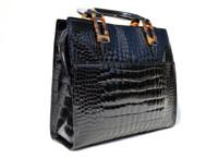 Gorgeous 1990's-2000's LANA MARKS Jet Black Alligator Belly Skin Handbag - Tortoise Handles