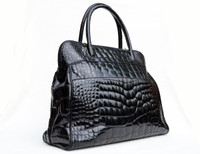 "XXL 14"" x 12"" BALLY Jet Black Alligator Belly Skin Handbag Shoulder Bag TOTE"