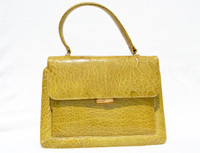 Gorgeous YELLOW 1950's-1960's TURTLE Skin Handbag