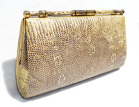 Large Pale Yellow & Brown 1950's-60's MONITOR (Ring) Lizard Skin CLUTCH - w/ Fold-In Handle