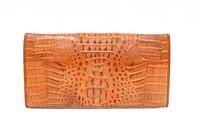Tan HORNBACK Crocodile Skin Checkbook Wallet Change Purse