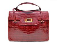 Stunning (Aurora) RED 1950's-60's Alligator Skin Handbag