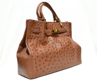 Stunning XL 15 x 10 NEW Early 2010's Tan BIRKIN Style OSTRICH Skin Handbag Shoulder Bag