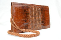 Unisex Caramel Brown 1960's-70's Hornback Crocodile Skin Shoulder Bag