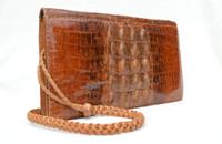 Unisex Caramel Brown 1960's-70's Hornback Crocodile Skin Shoulder Bag
