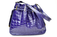 RARE 1980's-90's VIOLET PURPLE Crocodile Skin CROSS BODY Shoulder Bag - MENESTRIER - PARIS