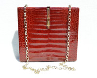 1960's Burgundy RED Caiman Crocodile Belly Skin Shoulder CROSS BODY Bag