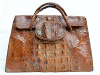 XL Indiana Jones Style 1940's-50's HORNBACK CROCODILE Skin Carry CASE Bag