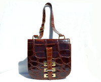 Classic 1980's Chocolate Brown Large Scaled ALLIGATOR Skin Shoulder Messenger Bag - ITALY