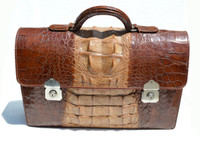 XL 1960's Men's Hornback ALLIGATOR BRIEFCASE Satchel Legal Size Bag