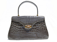 Classic Pewter GRAY 1990's ALLIGATOR Belly Skin Handbag
