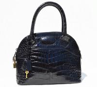 Medium Black Alligator Belly Skin Handbag Bowler BOLIDE- Lock & Key!