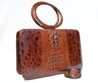 Deco 1970's Hornback Crocodile Skin Handbag w/Ring Handles with Matching Cuff Bracelet