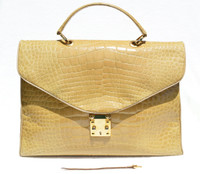 XXL 15 x 11 Light TAN ALLIGATOR Belly Skin Handbag Shoulder Bag SATCHEL Brief - ITALY