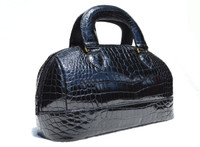 Medium Sized 1990's Jet Black CROCODILE Belly Skin Handbag
