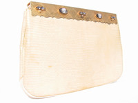 Pale YELLOW 1950's-60's ROSENFELD Lizard Skin Handbag w/CAMEOS & JEWELS