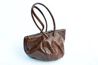 1940's Chocolate BROWN Snake Skin Deco Style Handbag