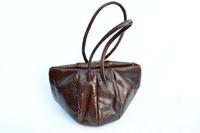 1940's Chocolate BROWN Snake Skin Deco Style Handbag