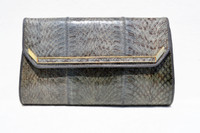 Slate GRAY 1980's-90's Cobra Snake Skin Clutch Shoulder Bag