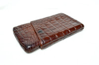 Antique 1920's-30's Chocolate Brown ALLIGATOR Belly Skin CIGAR Case Holder