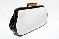 Black & White 1990's-2000's SAKS FIFTH AVENUE Snake Skin CLUTCH Shoulder Bag